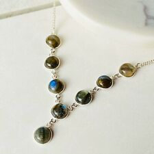 Labradorite Gemstone 925 Sterling Silver Unique Handmade Statement New Necklace