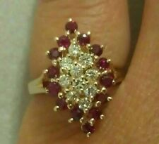 2.50Ct 14K Yellow Gold Finish  Round Ruby & Round Diamond Cluster Cocktail Ring