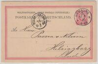 28449) Postkarte Mi.-Nr. P8II/02 in eosinrot UV leuchtend HAMBURG 1880 nach Schw