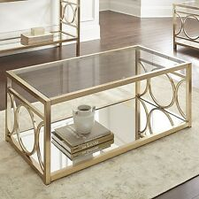 Steve Silver Olympia Coffee Table In Polished Gold Chrome Finish, OL100CG New