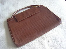 """  VINTAGE TEXTURED BROWN LEATHER HANDBAG - 2 ZIPPED COMPARTMENTS - SHABBY CHIC!"