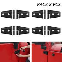 8Pcs ABS Door Engine Hood Hinge Cover For  Wrangler JK 2/4Door 07-16 BLK/A5