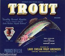 APPLE CRATE TROUT LAKE CHELAN FISHING FLY ORIGINAL VINTAGE ADVERTISING 1940S