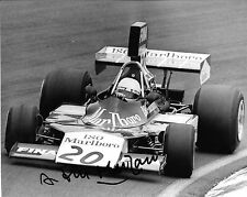 Arturo Merzario firmata 10x8 F1 ISO Williams FW03, British GP, BRANDS HATCH 1974