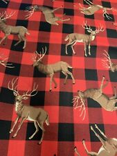 "2 Fat Quarters 100% Cotton Fabric 18""x 21 EA FQ Red Black Buffalo Check Deer"