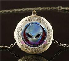 Blue Alien Cabochon LOCKET Pendant Bronze Chain Necklace USA Shipper #97