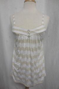 Ella Moss Anthropologie Tan White Striped Button Front Tank Top Soft Cotton Sz M