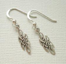 925 Sterling Silver Celtic Knot Woven Drop Dangle Earrings