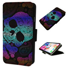 Aztec Skull Face - Flip Phone Case Wallet Cover Fits Iphone 6 7 8 X 11
