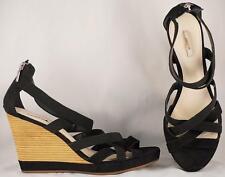 Women's Geox Respira Black Suede/Nylon Wedge Sandals US 9.5 EUR 41
