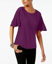 INC (MY8248-47) Ruffled-Sleeve Jersey Top Potent Purple Sz XL $49.50