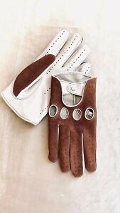 Men's Brown & White Driving Gloves Italian Napa Lambskin Leather