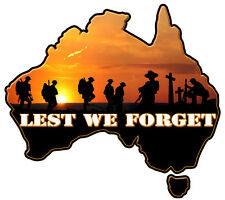 LEST WE FORGET  map of australia VINYL DECAL 50 MM BY 45 MM  gloss CONTOUR CUT