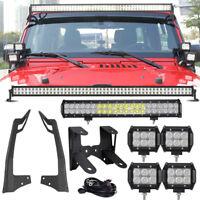 "For Jeep Wrangler JK 52"" 700W CREE LED Light Bar 22"" 4"" Pods + Mount Bracket Kit"