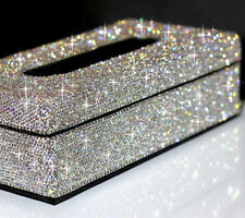 Elegant Silver Crystal Tissue Holder Case Paper Box For Home or Car