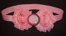 Pink Headband Hair BLING BAND Shabby Rose Embellishment Baby Girl Peppa Pig Oink