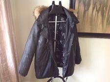 Vintage Mens Triple FAT Goose Leather Trench Coat Jacket - Fur hood, Black, L