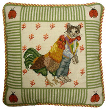"16"" x 16""Handmade Wool Needlepoint Cat Boy Rooster Ladybug Pillow Yellow Cording"