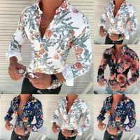 Men's Long Sleeve Flower Printed T-Shirt Slim Fit Casual Sexy Fashion Blouse Chi