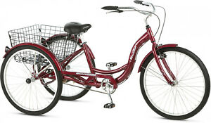 "Meridian Adult Tricycle 26"" Wheels Rear Storage Basket Aluminum Frame Cherry"