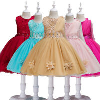 Flower Girls Kids Ball Prom Gown Wedding Princess Bridesmaid Party Tulle Dress