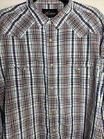 LUCCHESE 1883 Long Sleeve Button Down Western Plaid Shirt SZ Men's XL