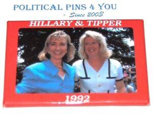 HILLARY CLINTON TIPPER GORE pin pinback button campaign presidential political