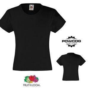 Fruit of the Loom Girls Plain Childrens T-Shirt Top  13 COLOURS  AGES 3 - 15