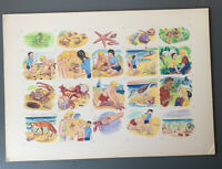 VINTAGE 1940s EARL SHERWAN SEA SHORE ORIGINAL STORYBOOK ART RARE BEACH