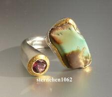 Einzelstück * Ring * 925 Silber * 24 ct Gold * Türkis * Turmalin