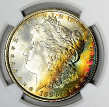 1886 Morgan Silver Dollar NGC MS67 CAC Rainbow Toned