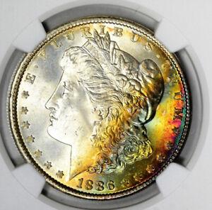 1886 Morgan Silver Dollar NGC MS67 CAC Rainbow Toned