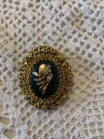 Vintage Made In Austria Pin Brooch Gold Tone Filigree crystal stones