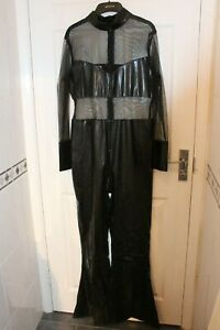 Ex Hire All in One Flared Leg Latex/mesh Cher Style Bodysuit Fancy Dress Costume