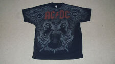 """""""Black Ice"""" AC/DC Malcolm Angus Young Guitar T-Shirt LARGE 2008 All Over Print"""
