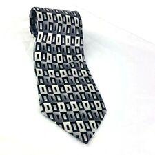 Pierre Cardin Silk Mens Necktie Black Silver Gray Squares Geometric