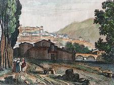Thiers Puy-de-Dôme estampe colorisée première moitié XIXe . France