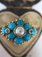 Antico Vittoriano GIALLO ORO Pretty turchese perla turchese e anello di diamanti