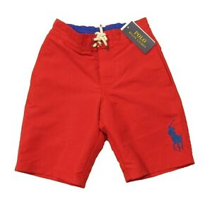 Polo Ralph Lauren Boys Red Solid Big Pony Swim Trunks