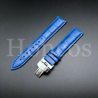 18-24 LEATHER WATCH BAND STRAP CLASP FOR OMEGA SEAMASTER PLANET OCEAN LIGHT BLUE