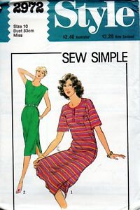 1980s Style Sewing Pattern 2972 Misses Sew Simple Casual Tee Shirt Dress Size 10