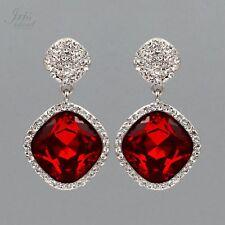 Rhodium Plated Red Crystal Rhinestone Wedding Drop Dangle Earrings 06725 Party