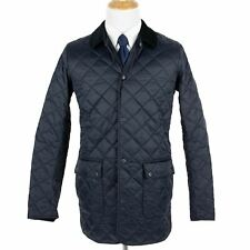 NWT Barbour Navy Thurland Quilted Microfiber Padded Corduroy Collar Jacket M