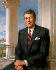 US President Ronald Reagan Portrait Painting American History Canvas Art Print
