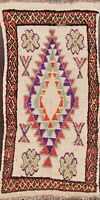 Antique Tribal Geometric Moroccan Runner Rug Hand-knotted Wool IVORY Carpet 3x6