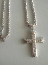 Jesus Piece Cross 925 Sterling Silver Chain 20 inches 3MM Made in Italy
