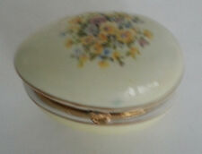 Mij Made in Japan Porcelain Egg Trinket Dish Yellow Flowers God Trim