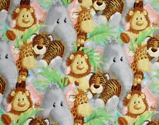 5 YARDS  JUNGLE BABIES PATTY REED COTTON FABRIC TRADITIONS NURSERY BABY  ANIMALS