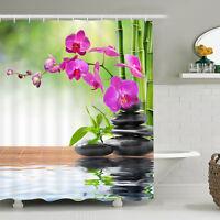 Bamboo Flower Shower Curtain Bathroom Waterproof Curtain with Hooks Home Decor
