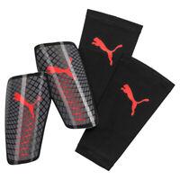 Puma Standalone Football Soccer Shinguard Shin Pad + Sleeve Black/Red - S